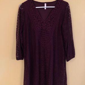 Mid sleeve purple lace dress